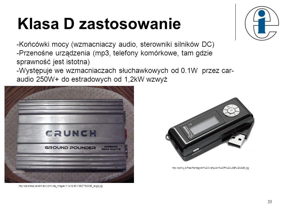 Klasa D zastosowanie Końcówki mocy (wzmacniaczy audio, sterowniki silników DC)