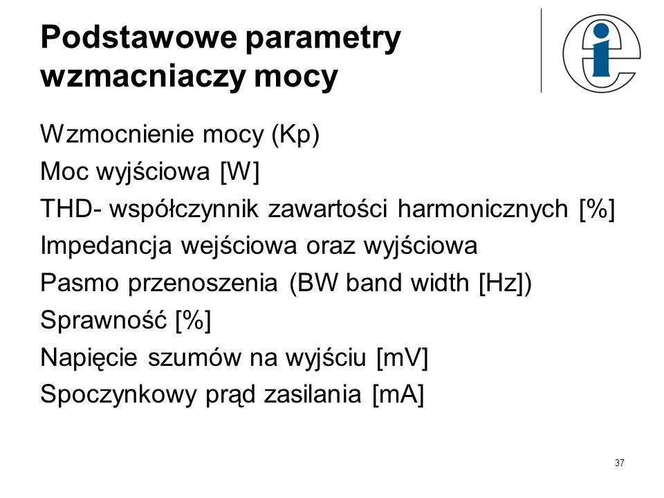 Podstawowe parametry wzmacniaczy mocy