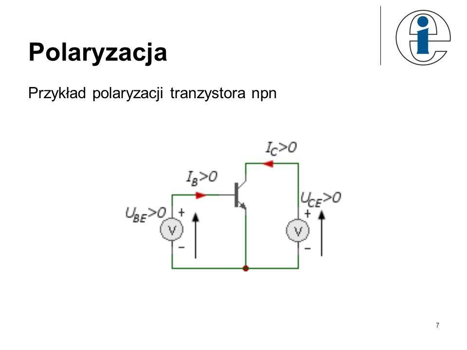 Polaryzacja Przykład polaryzacji tranzystora npn