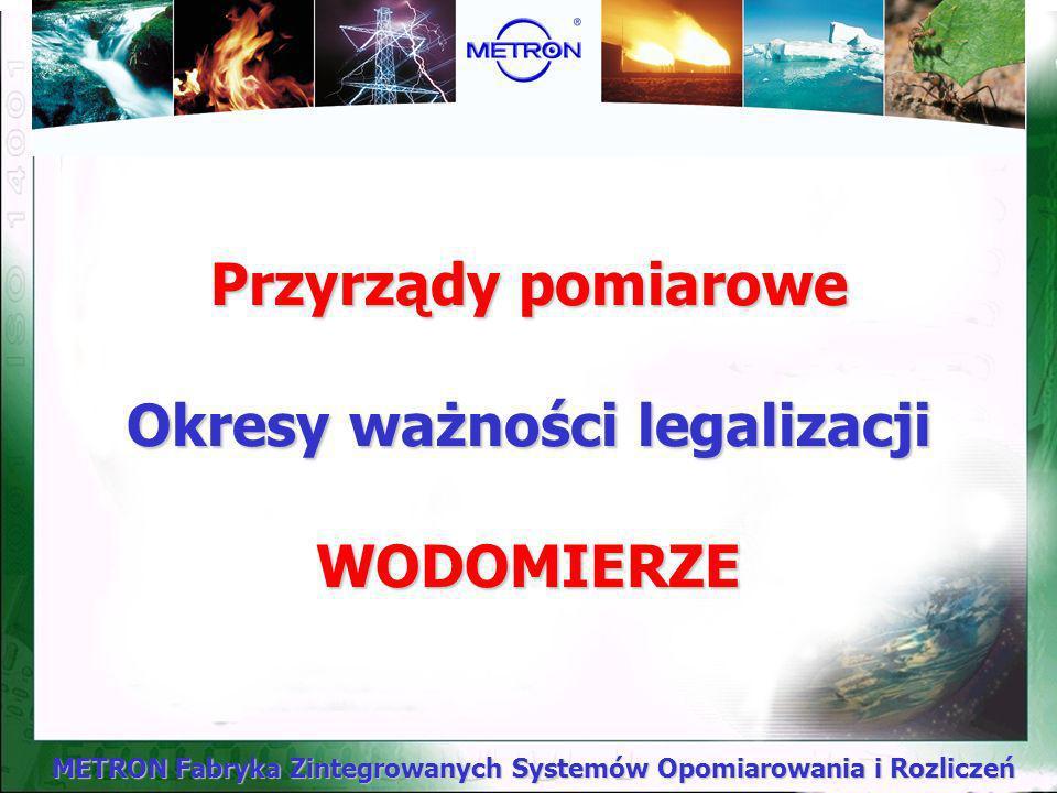 Przyrządy pomiarowe Okresy ważności legalizacji WODOMIERZE