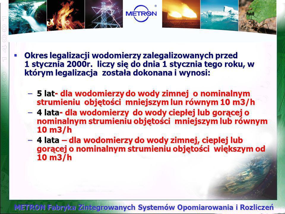 Okres legalizacji wodomierzy zalegalizowanych przed 1 stycznia 2000r