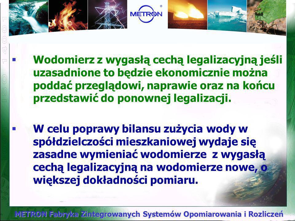 Wodomierz z wygasłą cechą legalizacyjną jeśli uzasadnione to będzie ekonomicznie można poddać przeglądowi, naprawie oraz na końcu przedstawić do ponownej legalizacji.