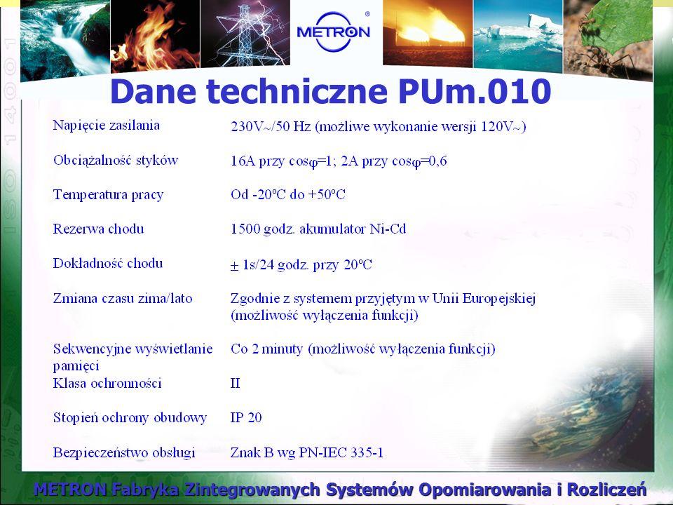 Dane techniczne PUm.010