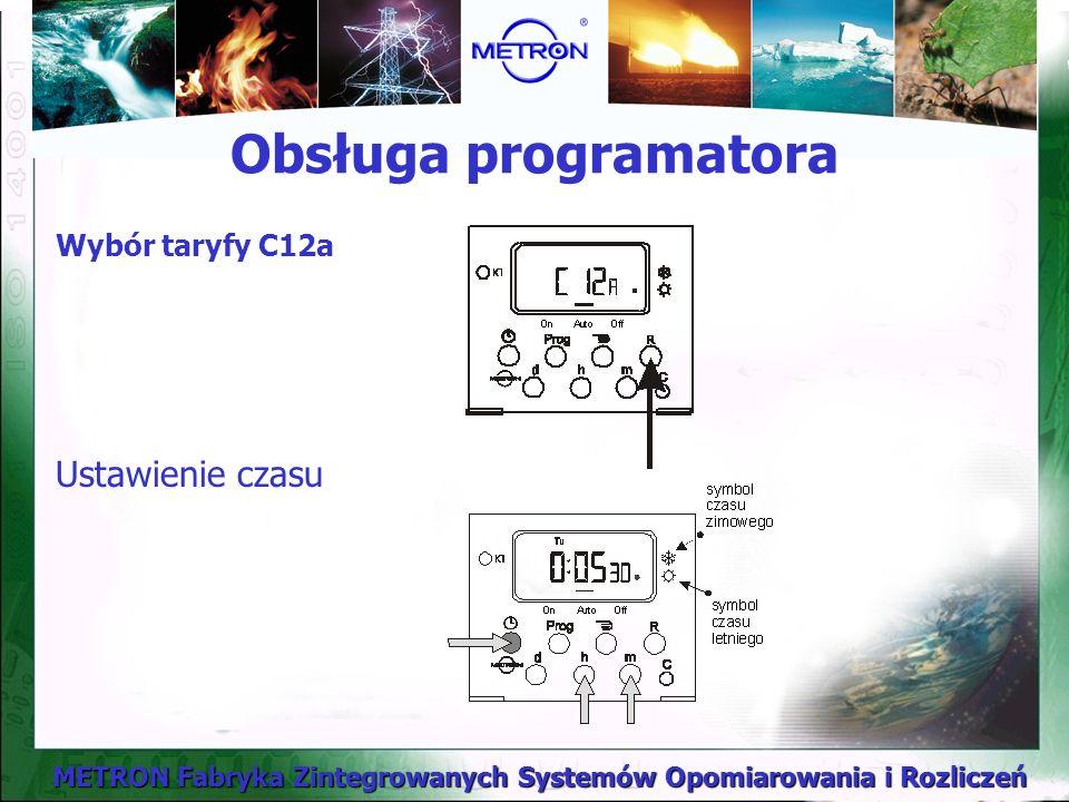 Obsługa programatora Wybór taryfy C12a Ustawienie czasu