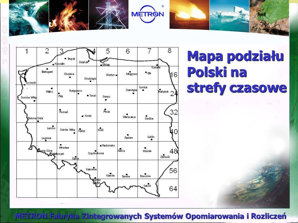 Mapa podziału Polski na strefy czasowe