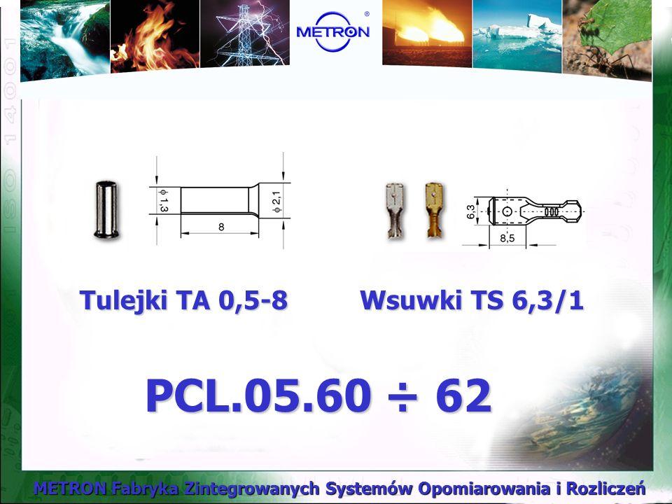 Tulejki TA 0,5-8 Wsuwki TS 6,3/1 PCL.05.60 ÷ 62