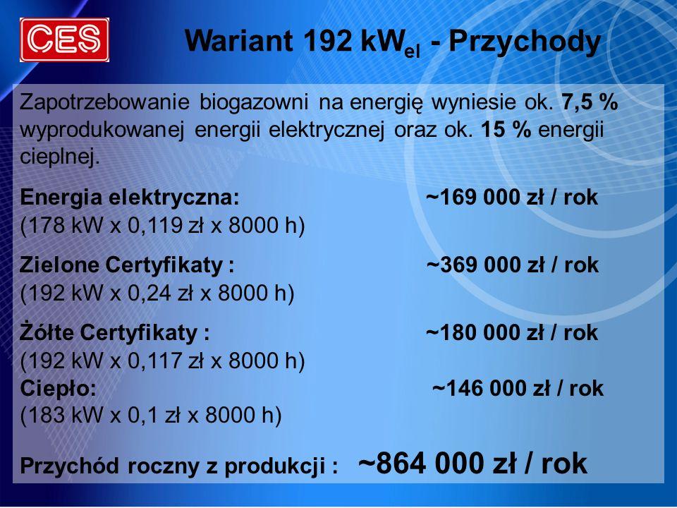 Wariant 192 kWel - Przychody