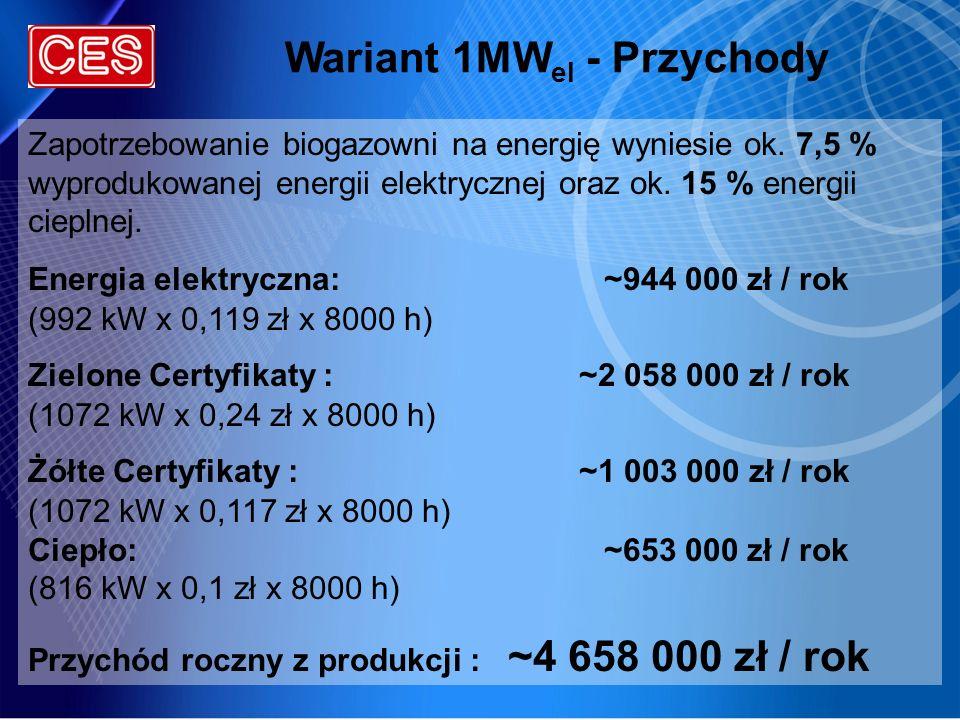 Wariant 1MWel - Przychody