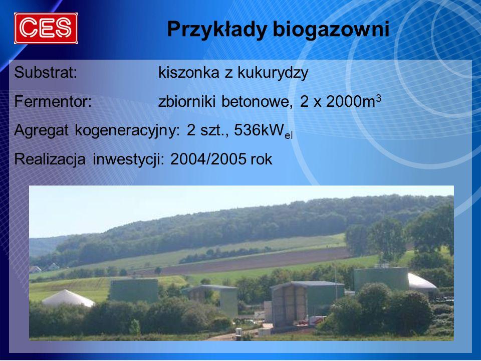 Przykłady biogazowni Substrat: kiszonka z kukurydzy