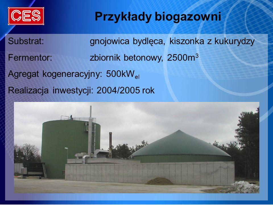 Przykłady biogazowni Substrat: gnojowica bydlęca, kiszonka z kukurydzy