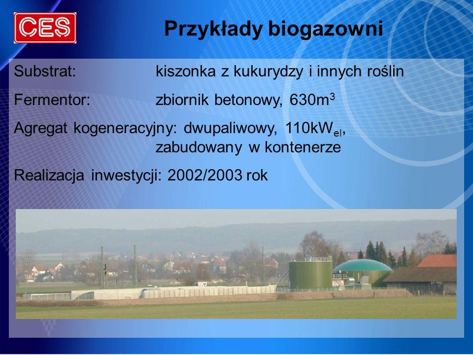 Przykłady biogazowni Substrat: kiszonka z kukurydzy i innych roślin