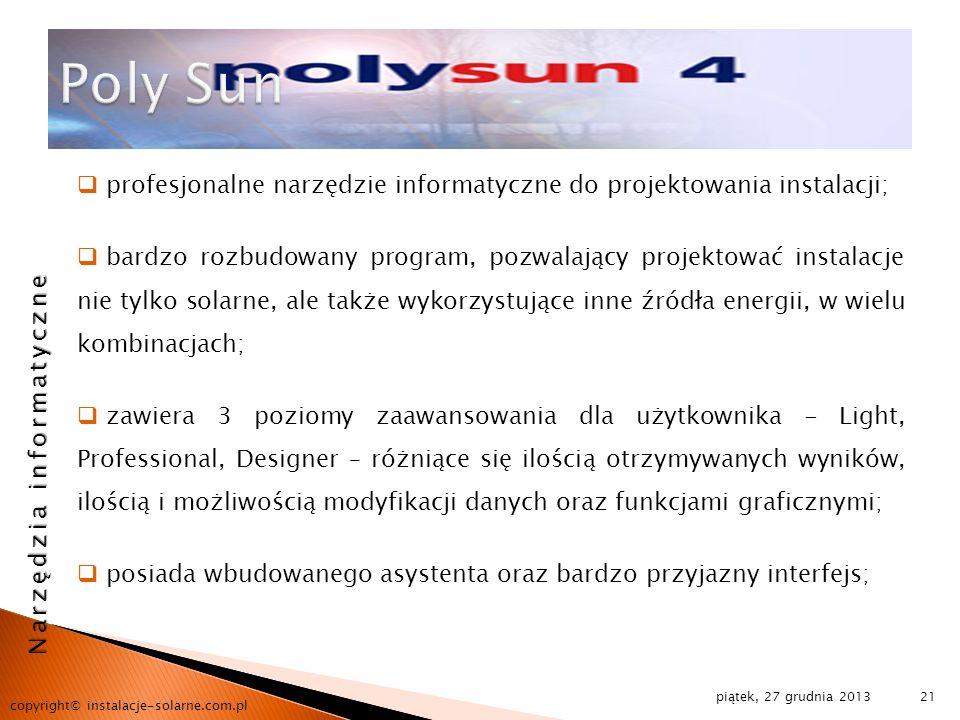 Poly Sun profesjonalne narzędzie informatyczne do projektowania instalacji;