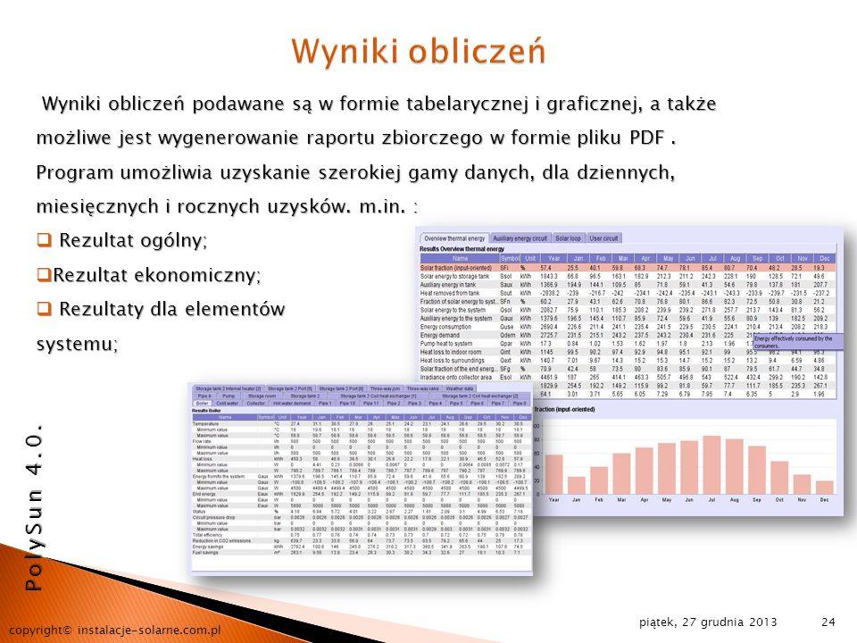 Wyniki obliczeń PolySun 4.0.