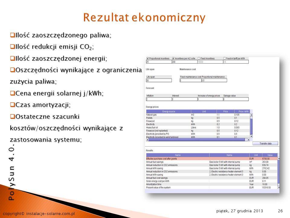 Rezultat ekonomiczny PolySun 4.0. Ilość zaoszczędzonego paliwa;