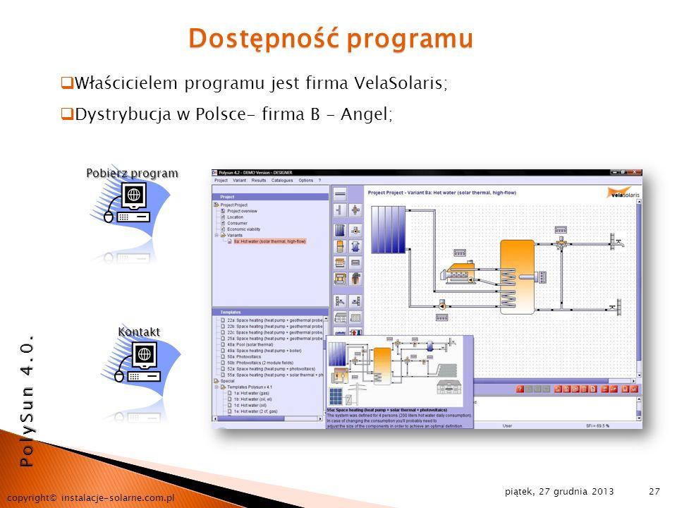 Dostępność programu Właścicielem programu jest firma VelaSolaris;
