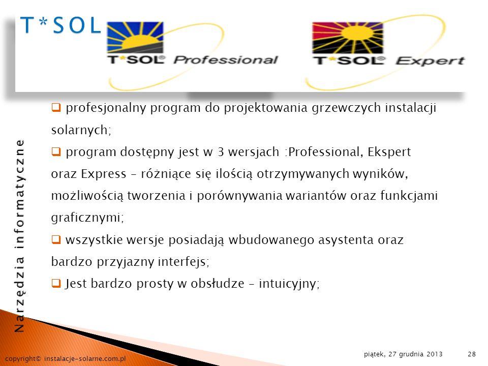 T*SOLprofesjonalny program do projektowania grzewczych instalacji solarnych;