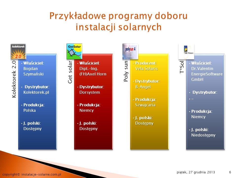 Przykładowe programy doboru instalacji solarnych