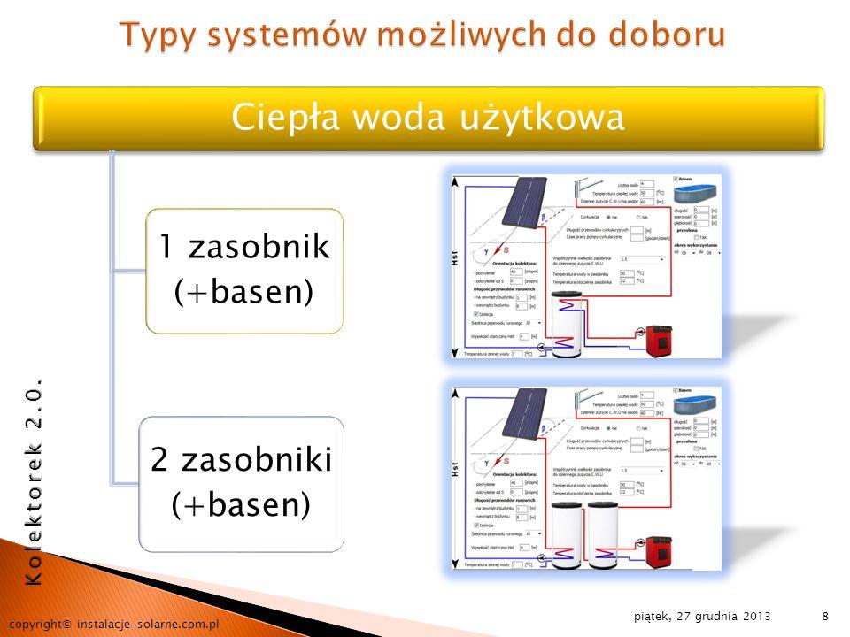 Typy systemów możliwych do doboru
