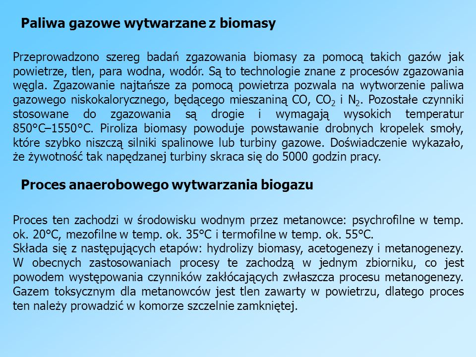 Paliwa gazowe wytwarzane z biomasy