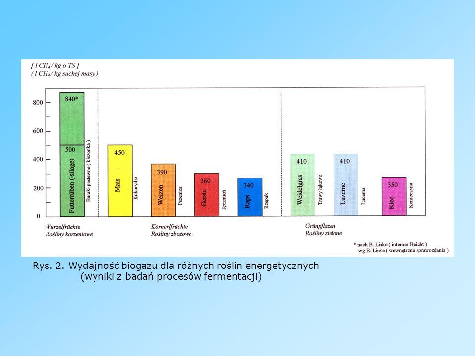 Rys. 2. Wydajność biogazu dla różnych roślin energetycznych