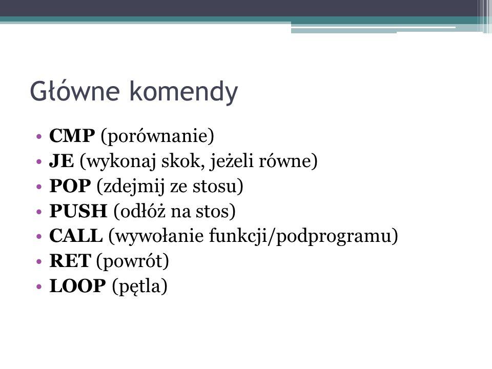 Główne komendy CMP (porównanie) JE (wykonaj skok, jeżeli równe)