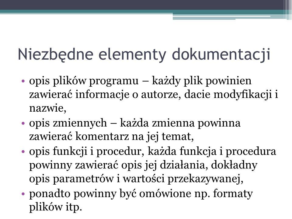 Niezbędne elementy dokumentacji