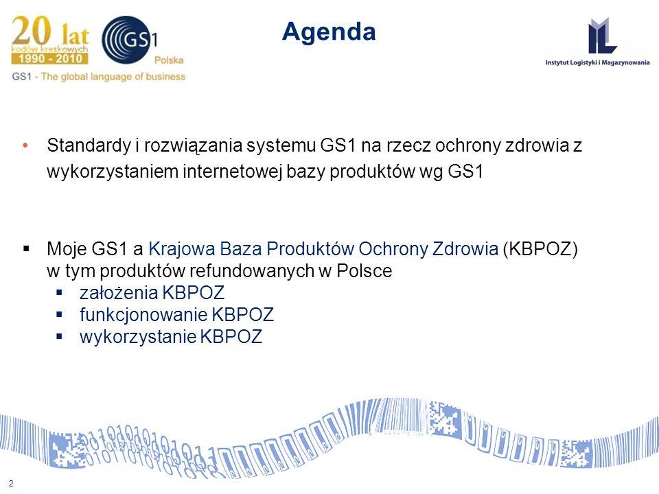 Agenda Standardy i rozwiązania systemu GS1 na rzecz ochrony zdrowia z wykorzystaniem internetowej bazy produktów wg GS1.