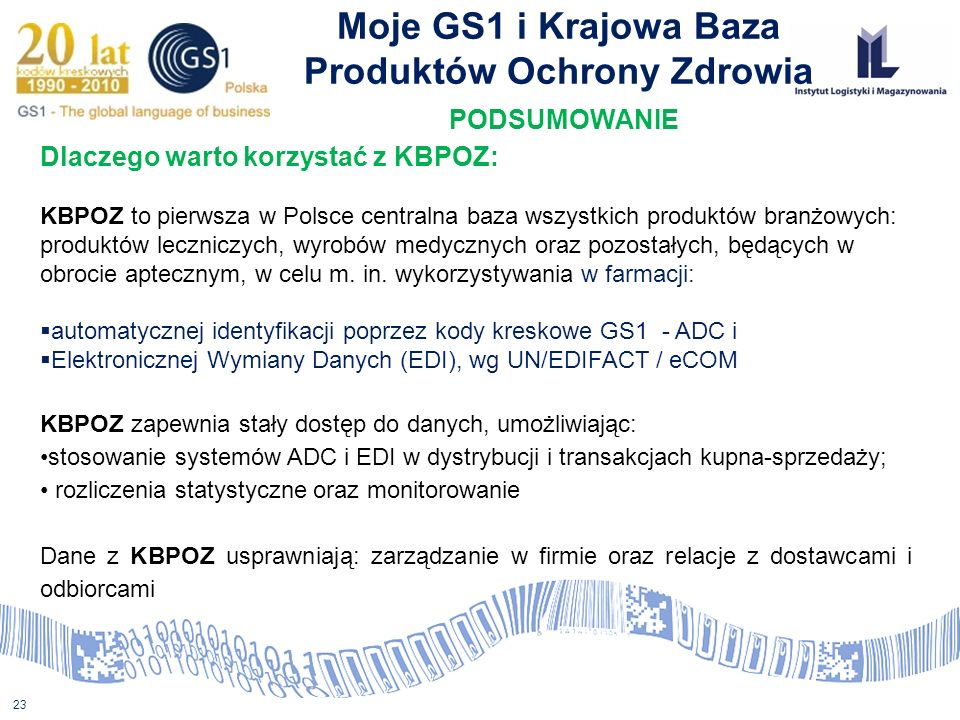 Moje GS1 i Krajowa Baza Produktów Ochrony Zdrowia PODSUMOWANIE