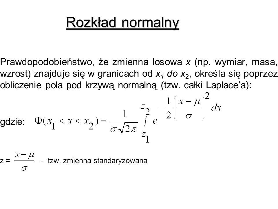 Rozkład normalny z = - tzw. zmienna standaryzowana
