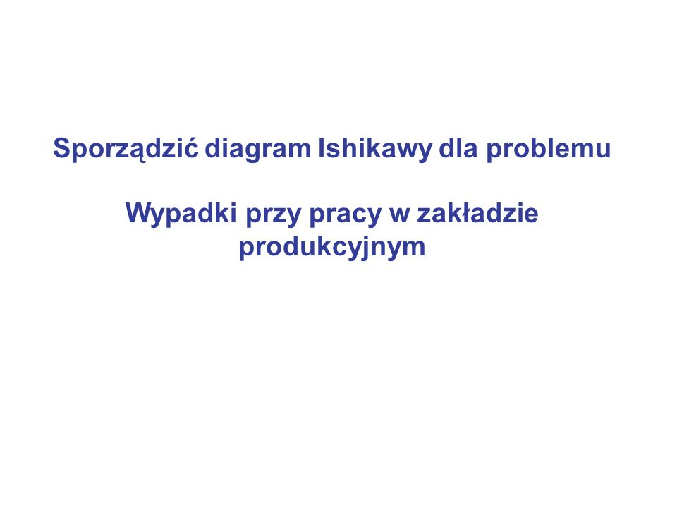 Sporządzić diagram Ishikawy dla problemu Wypadki przy pracy w zakładzie produkcyjnym