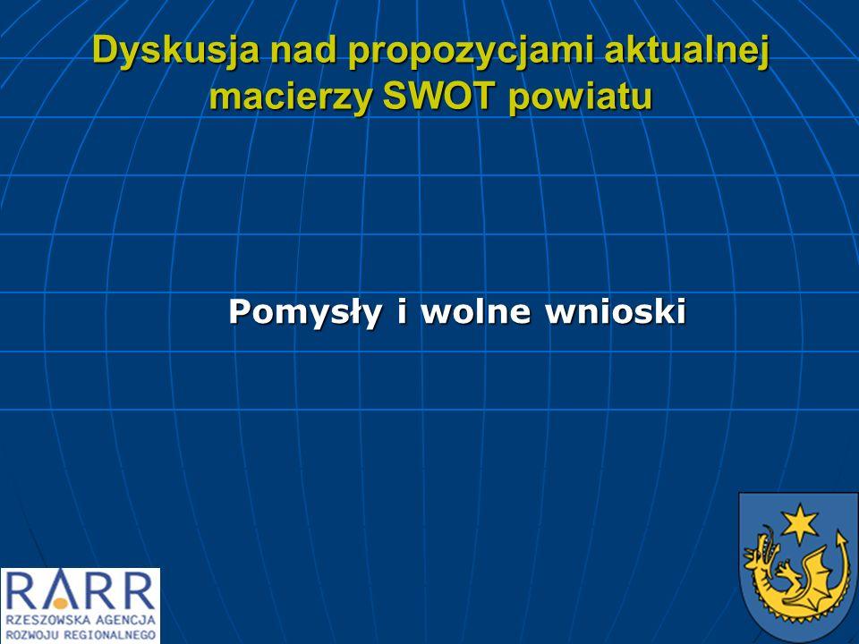 Dyskusja nad propozycjami aktualnej macierzy SWOT powiatu