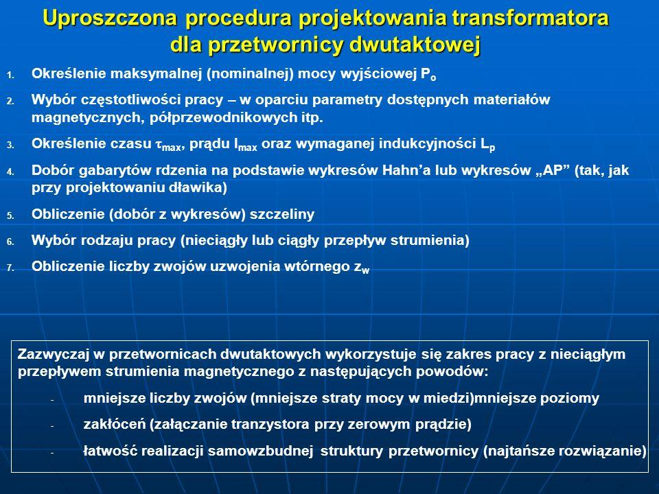 Uproszczona procedura projektowania transformatora dla przetwornicy dwutaktowej