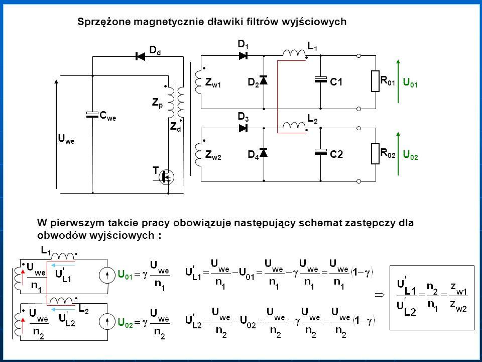 Sprzężone magnetycznie dławiki filtrów wyjściowych