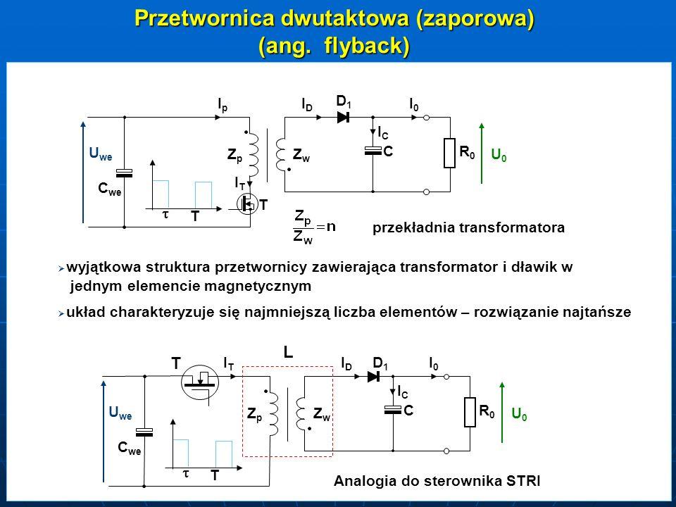 Przetwornica dwutaktowa (zaporowa) przekładnia transformatora