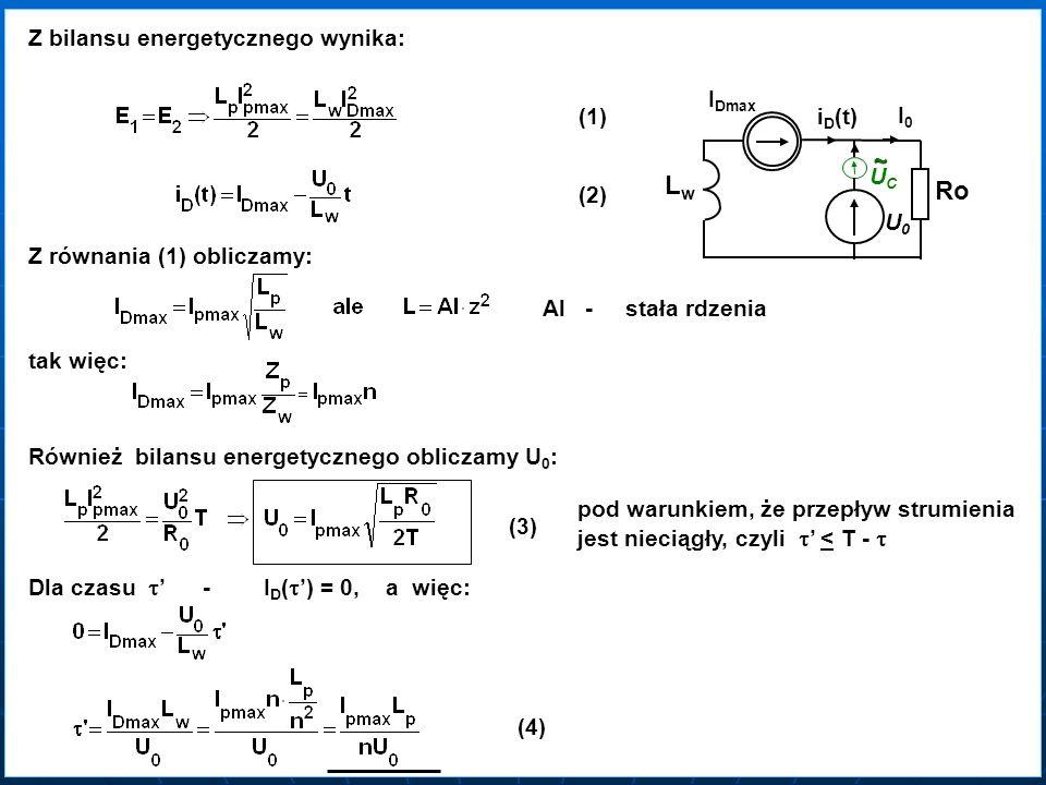 Lw Ro Z bilansu energetycznego wynika: IDmax (1) iD(t) I0 ~ UC (2) U0