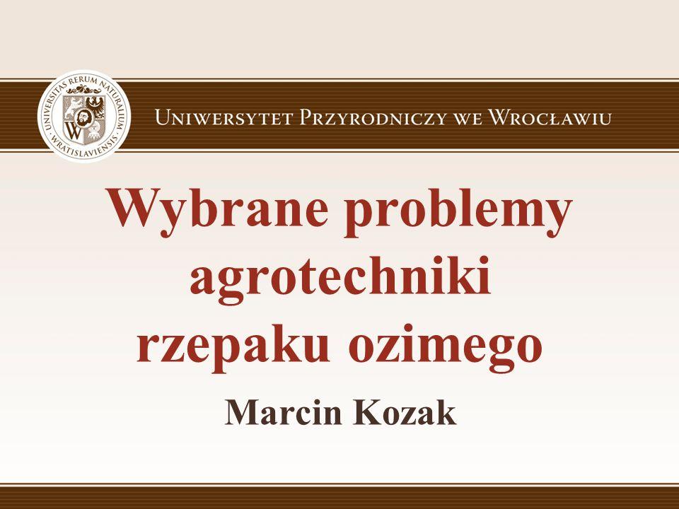 Wybrane problemy agrotechniki rzepaku ozimego