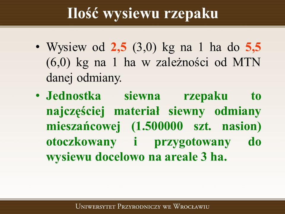 Ilość wysiewu rzepaku Wysiew od 2,5 (3,0) kg na 1 ha do 5,5 (6,0) kg na 1 ha w zależności od MTN danej odmiany.