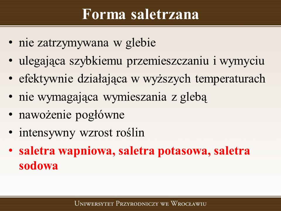 Forma saletrzana nie zatrzymywana w glebie