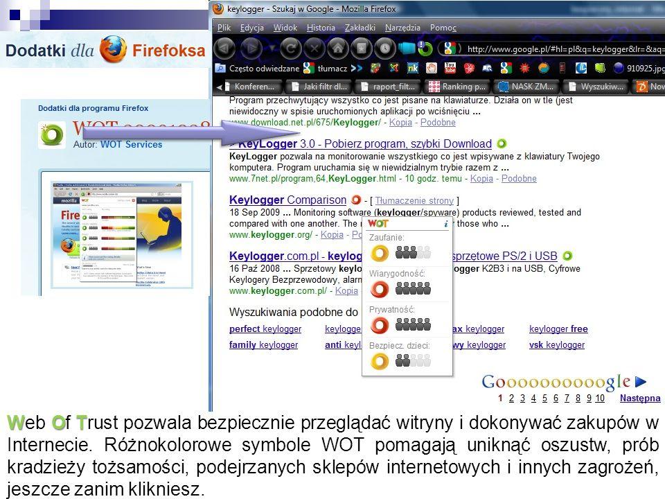 Web Of Trust pozwala bezpiecznie przeglądać witryny i dokonywać zakupów w Internecie.