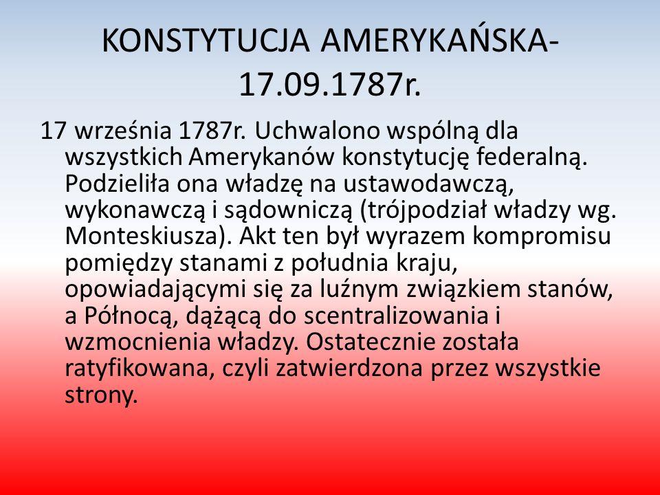 KONSTYTUCJA AMERYKAŃSKA-17.09.1787r.