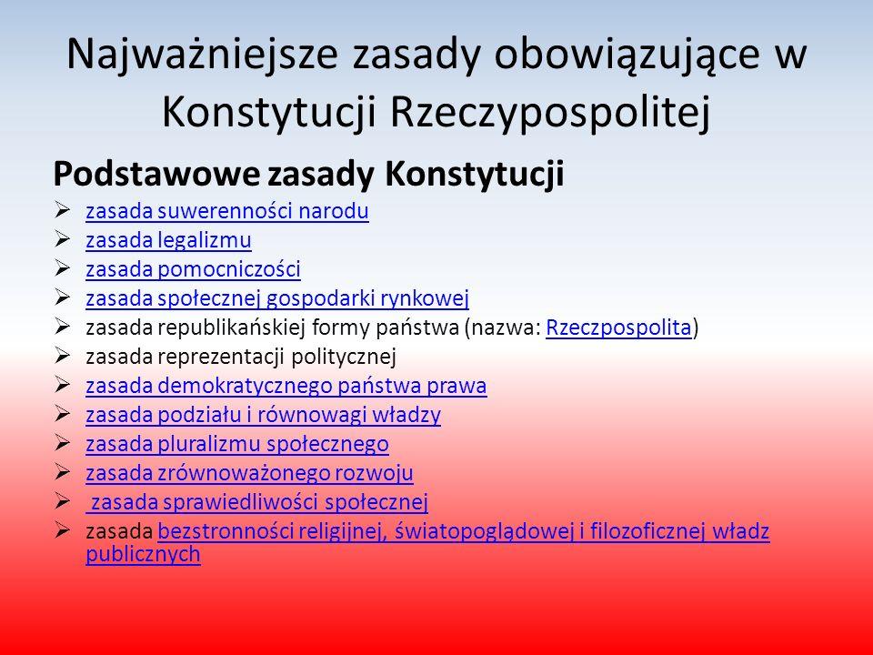 Najważniejsze zasady obowiązujące w Konstytucji Rzeczypospolitej