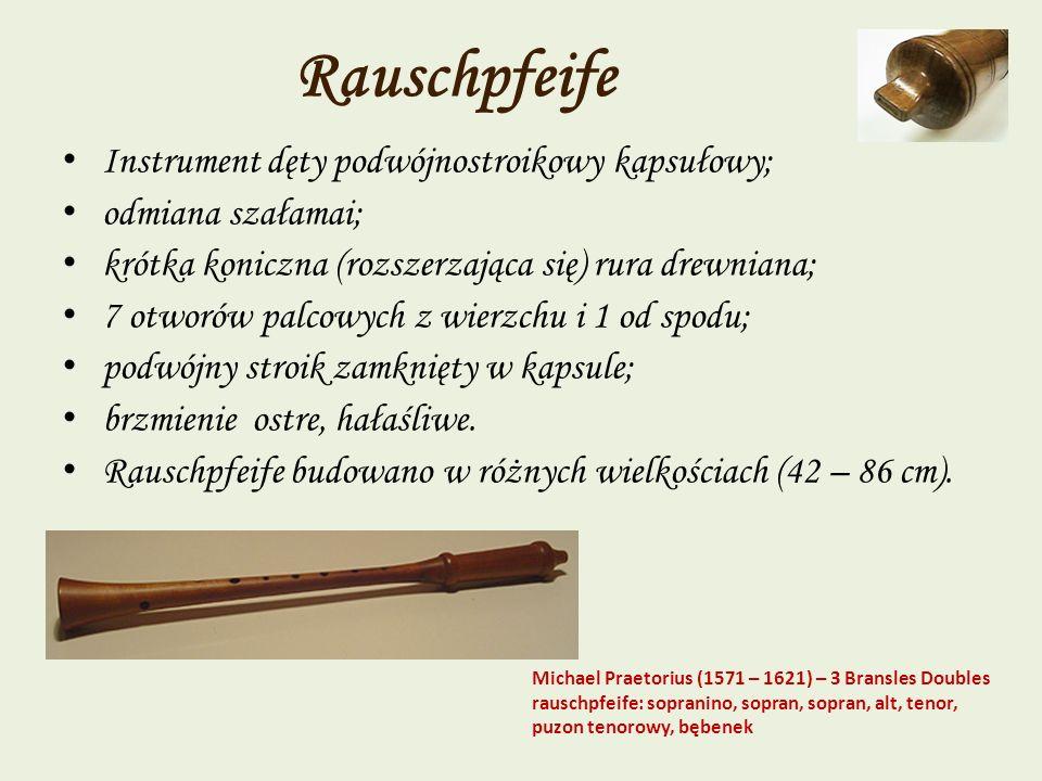 Rauschpfeife Instrument dęty podwójnostroikowy kapsułowy;