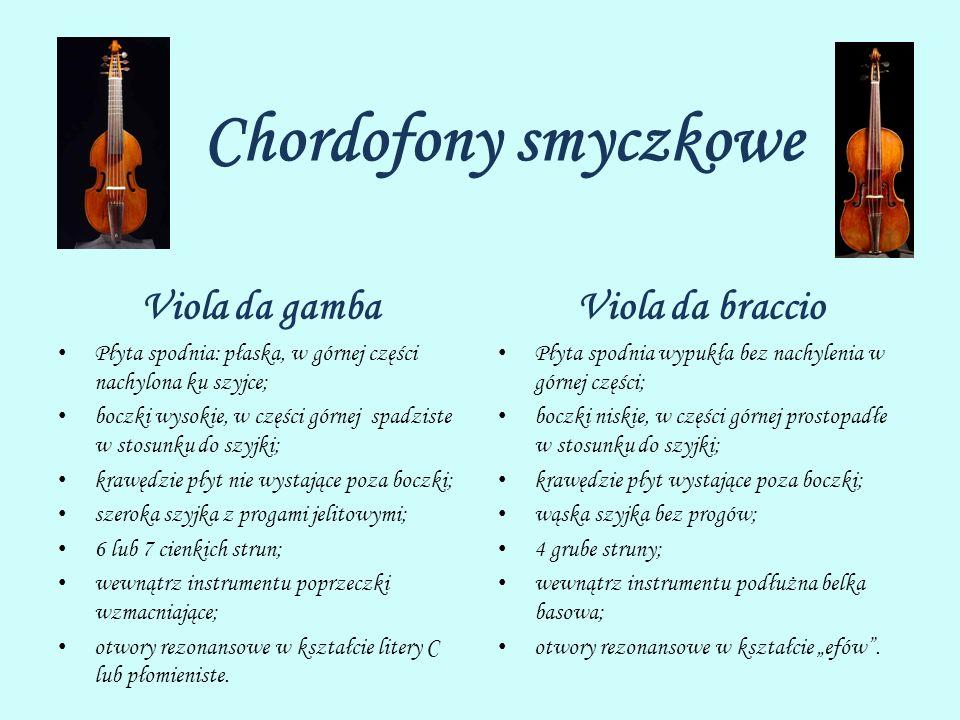 Chordofony smyczkowe Viola da gamba Viola da braccio