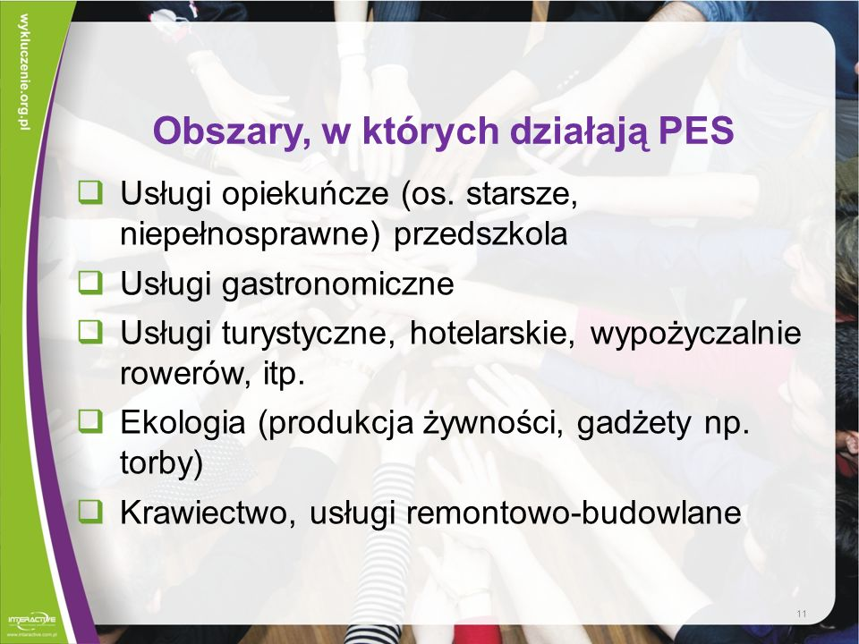 Obszary, w których działają PES