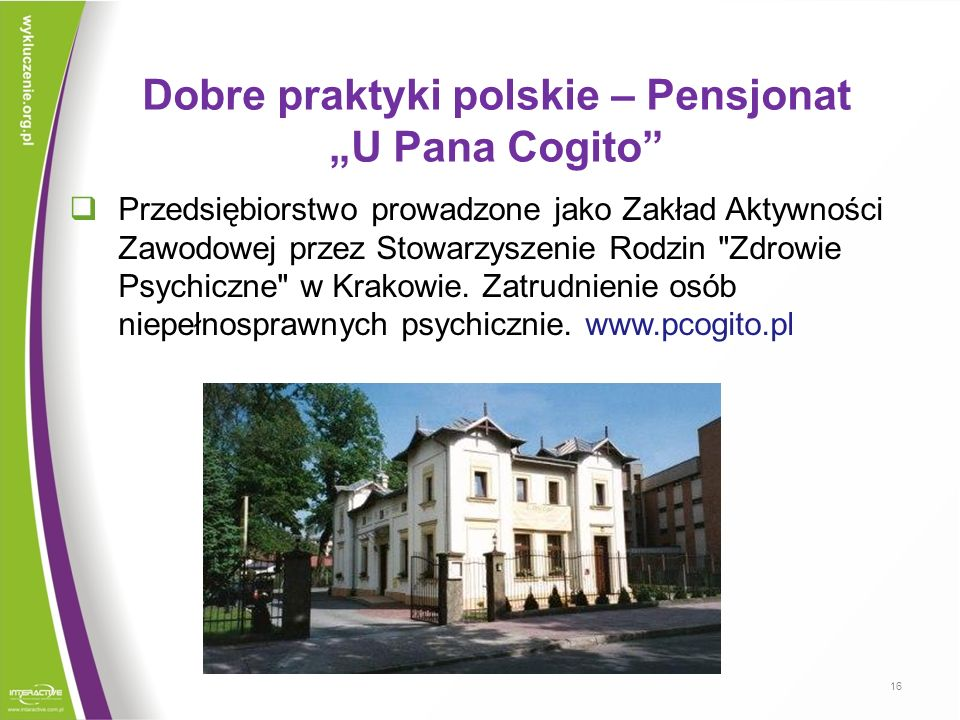 "Dobre praktyki polskie – Pensjonat ""U Pana Cogito"
