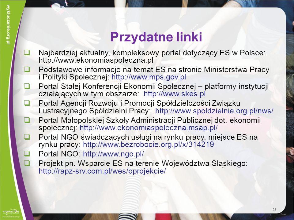 Przydatne linki Najbardziej aktualny, kompleksowy portal dotyczący ES w Polsce: http://www.ekonomiaspoleczna.pl.