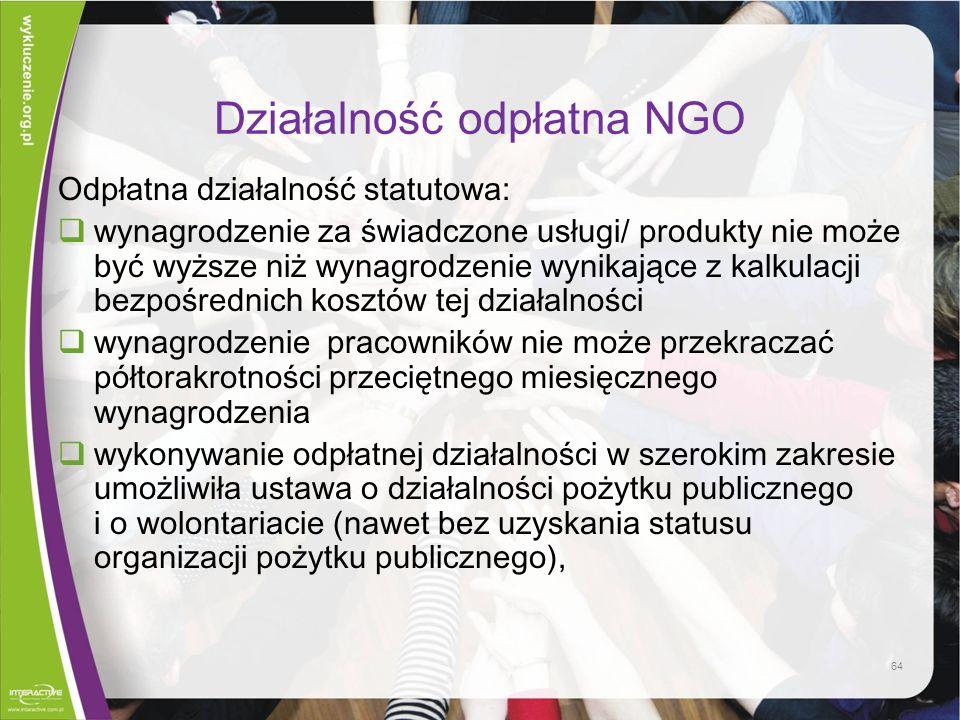 Działalność odpłatna NGO