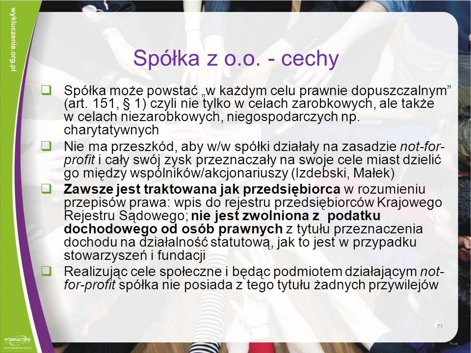 Spółka z o.o. - cechy