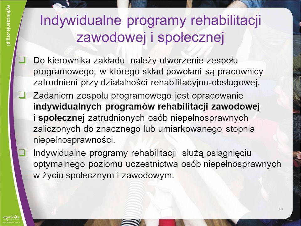 Indywidualne programy rehabilitacji zawodowej i społecznej