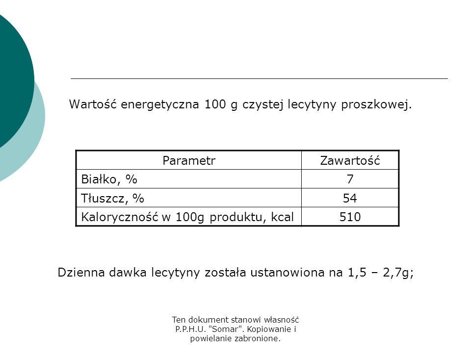 Wartość energetyczna 100 g czystej lecytyny proszkowej. Parametr